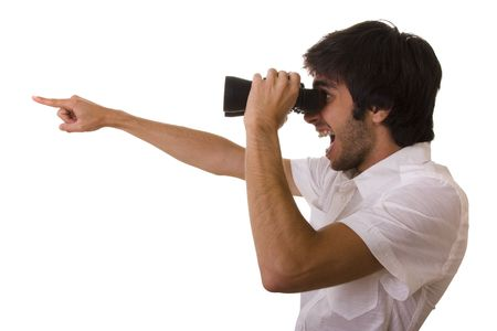 discover: businessman looking with his binocular and pointing to the copy space