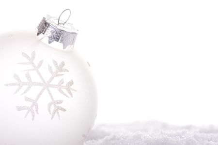 christmas white background, with a christmas ball (selective focus) Stock Photo - 3810436