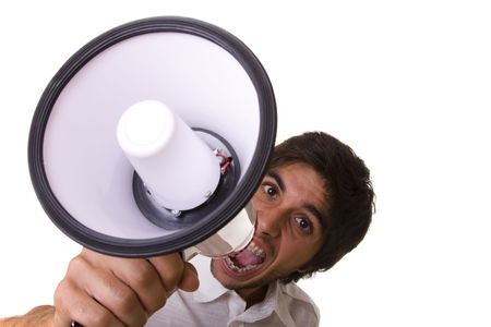 young men shouting at the megaphone (selective focus) Stock Photo - 3809829