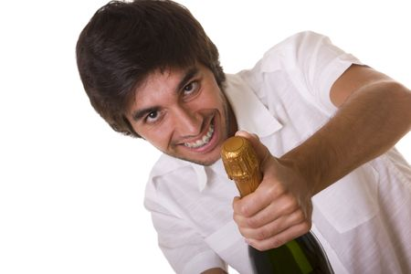 man trying to open a bottle of champagne in the new year eve  (selective focus) Stock Photo - 3809828