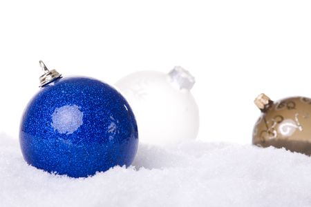 christmas white background, with snow and christmas balls (selective focus) Stock Photo - 3810447