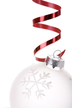 christmas white background, with a christmas ball (selective focus) Stock Photo - 3810438