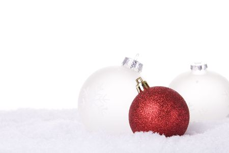 christmas white background, with snow and christmas balls (selective focus) Stock Photo - 3845055