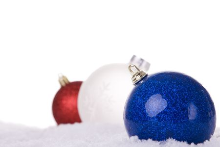 christmas white background, with snow and christmas balls (selective focus) Stock Photo - 3845053