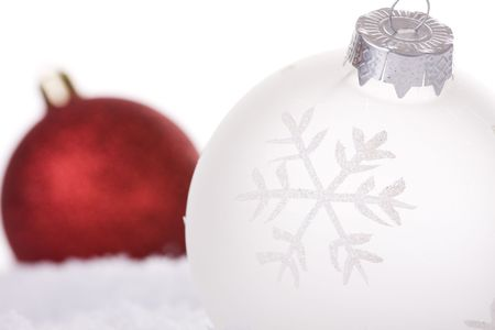 christmas white background, with snow and christmas balls (selective focus) Stock Photo - 3845037