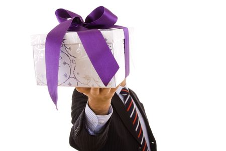 a businessman with a gift for you (selective focus) Stock Photo