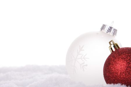 christmas white background, with snow and christmas balls (selective focus) Stock Photo - 3845028
