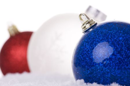 christmas white background, with snow and christmas balls (selective focus) Stock Photo - 3845059