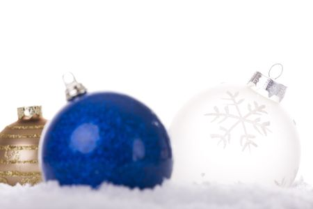 christmas white background, with snow and christmas balls (selective focus) Stock Photo - 3845013