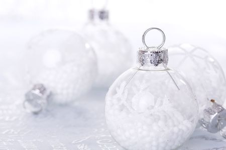 christmas cold background, with snow and christmas balls (selective focus) Stock Photo - 3845039