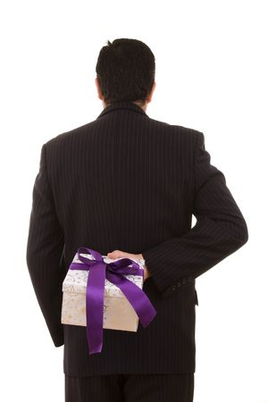 a businessman with a gift for you (selective focus) Stock Photo - 3836418