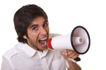 young men shouting at the megaphone (selective focus) Stock Photo - 3875466