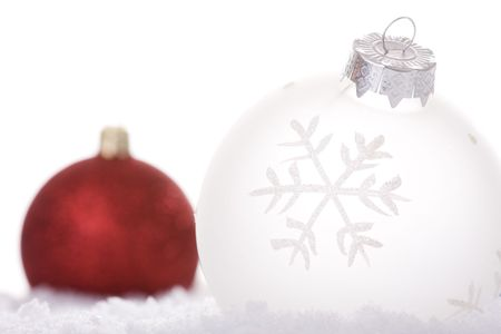 christmas white background, with snow and christmas balls (selective focus) Stock Photo - 3880504