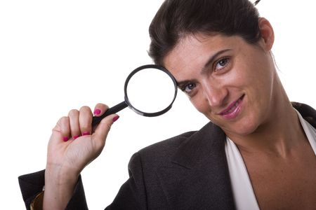 investigators: a clever detective businesswoman (isolated on white)