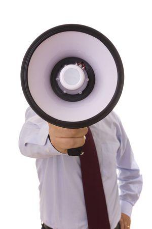 noises: businessman shouting at the megaphone (selective focus)