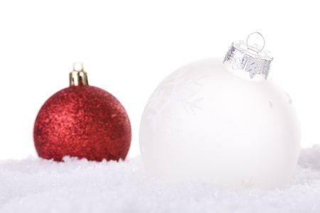 christmas white background, with snow and christmas balls (selective focus) Stock Photo - 3880502