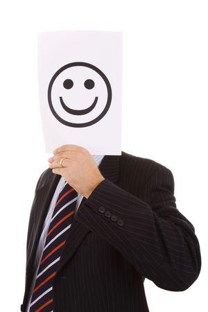 hypocrite businessman hiding behind a big smile symbol photo