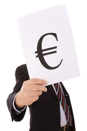 file clerk: businessman showing that he is the Euro man (selective focus)