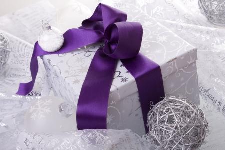 christmas present decoration (selective focus) photo
