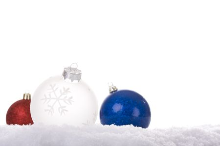christmas white background, with snow and christmas balls (selective focus) Stock Photo - 3951346