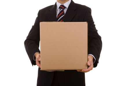 a businessman holding a pile of pakage parcels (isolated on white) Stock Photo - 3951359