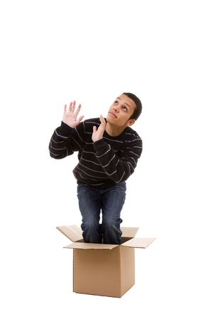 praying inside the box (isolated on white) Stock Photo - 3950212