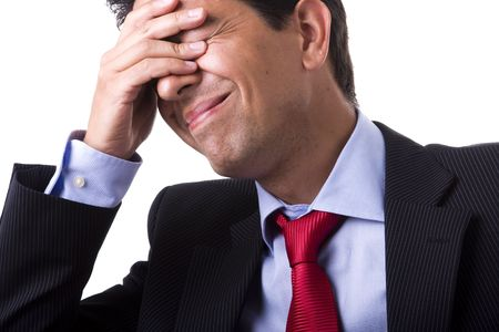 businessman with a big headache (isolated on with with copyspace) Stock Photo - 4088955
