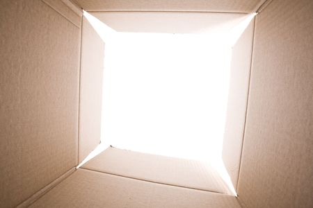 moving crate: inside view of an empty cardboard box (selective focus) Stock Photo