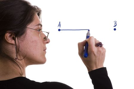 woman drawing a line from point A to point B (selective focus) photo