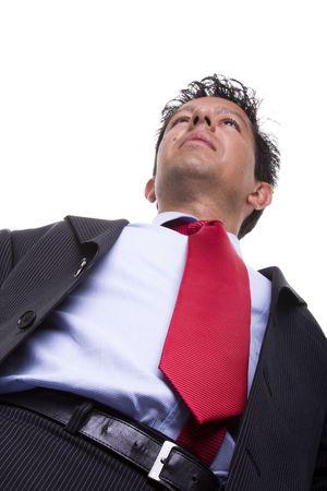 bellow: abajo de una perspectiva de confianza en hombre de negocios (enfoque selectivo)
