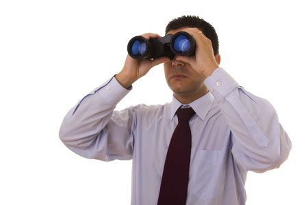 businessman looking through the binocular (isolated on white) Stock Photo - 4159862