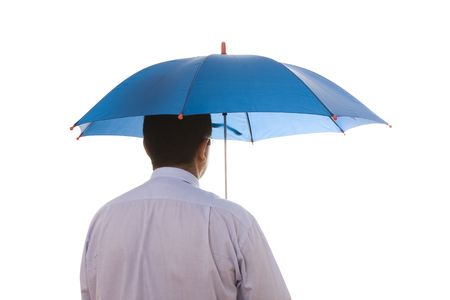a insurance agent businessman holding a umbrella for best protection photo
