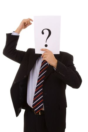 untrustworthy: who is this businessman hiding behind the question mark (selective focus) Stock Photo