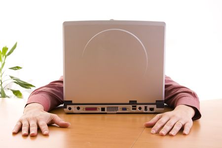 woman fall a sleep in her laptop, looks like a computer face (selective focus) photo