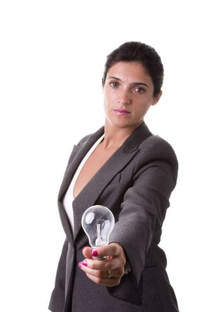 businesswoman face with a lamp in her hand (idea concept) Stock Photo - 4159871