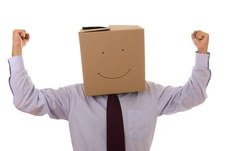 a funny cardboard head businessman with his arms outstretched