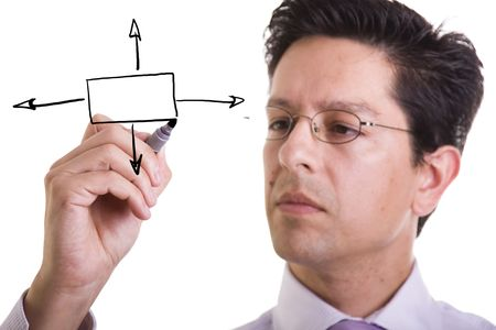 businessman drawing a flowchart for a business decision (selective focus) Stock Photo - 4159863