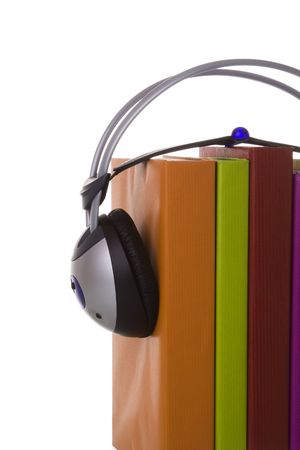 colorful audiobook concept with headphones and books (isolated on white) Stock Photo - 4162417