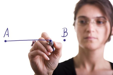 woman drawing a line from point A to point B (selective focus) Stock Photo - 4201165