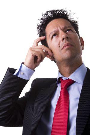 elegant businessman thinking (isolated on white) Stock Photo - 4201184