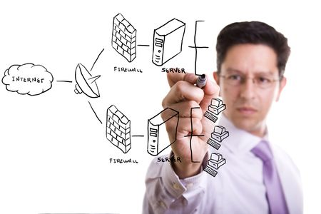 businessman drawing a security plan for a firewall system (selective focus) Stock Photo - 4201194