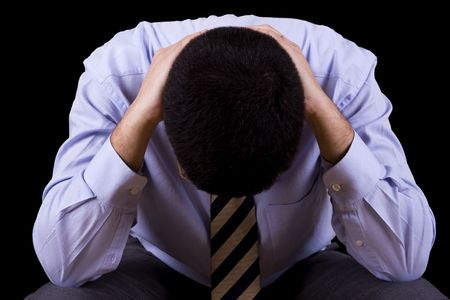 businessman with a depression (isolated on black) Stock Photo - 4201205