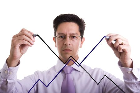 uncertainty: businessman drawing an uncertainty market evolution (selective focus) Stock Photo