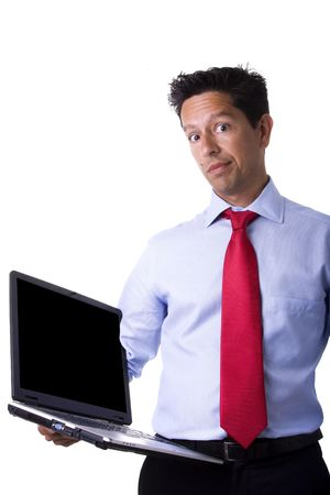 businessman holding a laptop making a funny face expression photo