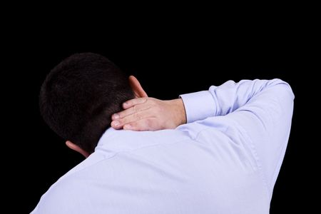 businessman back with a muscular pain in the neck Stock Photo - 4269396