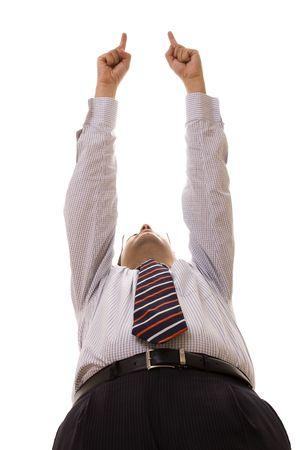 bellow: abajo la perspectiva de un hombre de negocios que apunta (enfoque selectivo) Foto de archivo