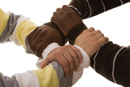 joined hand of a multiracial team (isolated on white) Stock Photo - 4290332