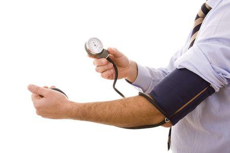 ipertensione: businessman prova il suo stato clinico (messa a fuoco selettiva) Archivio Fotografico