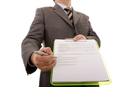 businessman hand pointing to the place in a document that needs your signature (selective focus) photo