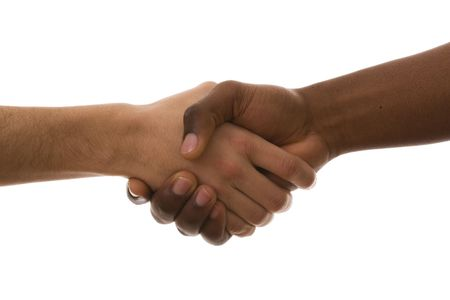 multirracial handshake from an african and a caucasian mens hand (isolated on white) Stock Photo